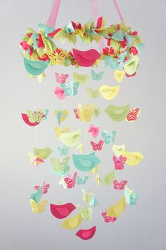 Bright Nursery Decor Mobile with Butterflies & Birds- Nursery Mobile, Baby Shower Gift. $63.00, via Etsy.