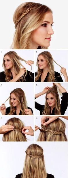 Diadem hairstyle with braids, little braids - Pequeñas trenzas para peinado de diadema