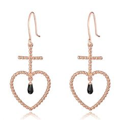 The 'Elle' Beaded Heart Earring - 18K Rose Gold + Black Onyx from F and H Jewellery