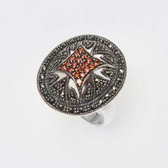 Barokowy efektowny duży srebrny pierścionek z markazytami i czerwoną cyrkonią - 16 - AnKa Biżuteria Srebrna