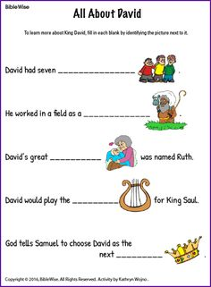 A Fun Fill In The Blank Activity About King David