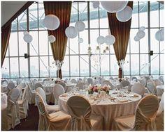 White wedding reception with view of Lake Ontario