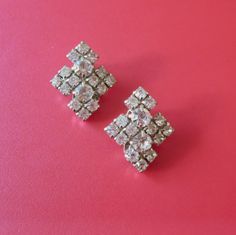 Vintage Rhinestone Earrings Abstract Symmetrical Ice by baublology