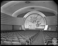 Love the circular screen frame! art deco / streamline cinema