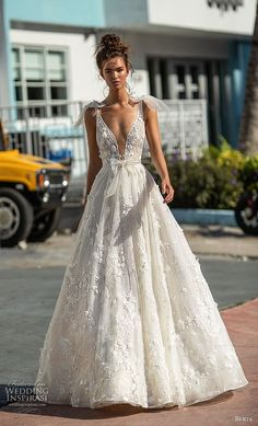 Best A-Line Wedding Dress: berta spring 2019 bridal sleeveless with ribbon straps deep plunging v neck full... TrendyIdeas.net | Your number one source for daily Trending Ideas
