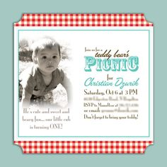 Teddy Bear Picnic Invitation Photo Invite Printable Digital File