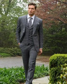 Michael Andrews Bespoke Custom Grey Plaid Suit with peak lapels. Showing off that British style with a timeless custom suit. Three Piece Suit, 3 Piece Suits, Suit Up, Suit And Tie, Dapper Gentleman, Gentleman Style, Mens Fashion Suits, Mens Suits, Groom Suits