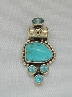 Artisan Turquoise Pendant 2 with Blue Topaz