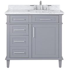 Home Decorators Collection Sonoma 36 in. W x 22 in. D Bath Vanity in Pebble Grey with Carrara Marble Top with White Sinks 8105100240 - The Home Depot White Sink, Vanity, Marble Vanity Tops, European Home Decor, Home Decorators Collection, Small Bathroom Decor, Bathroom Vanity, Small Bathroom, Bathroom Design