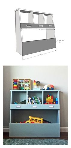 easy diy toy box with shelves made from all 1x boards plans by ana-white.com by lara