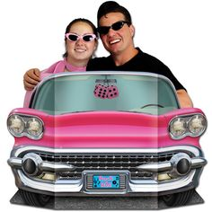 "Create amazing photo ops with ""life-size"" pink Cadillac cardboard cutout party decorations. They're the perfect prop for outstanding party memories!"