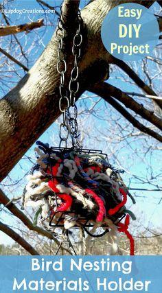 Easy Spring DIY Project - How to Make a Bird Nesting Materials Holder DIY   Dog Mom   Knitter   Dog Moms Who Knit   Kid Friendly   Easy DIY   Yarn