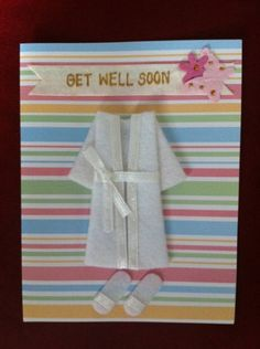Dressing Gown and Slippers Striped Get Well Soon Card