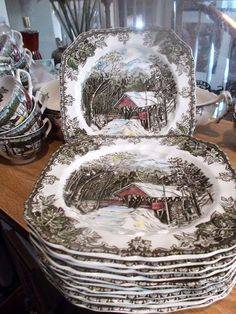 Country Homes Decor Christmas Dinner Plates, Christmas Dinnerware, Christmas China, Christmas Table Settings, Christmas Tablescapes, Christmas Table Decorations, Holiday Decor, Thanksgiving Dinnerware, Friendly Village Dishes