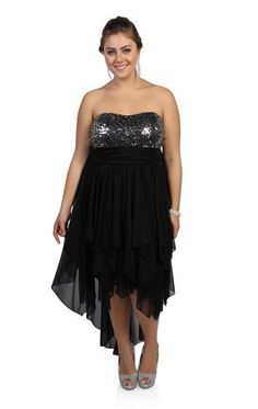 plus size two tone sequin strapless party dress with high low hem