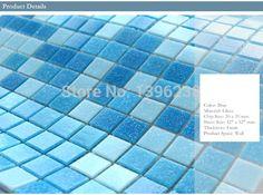 Mar mediterrâneo azul misturado mosaico de vidro tamanho da telha Cozinha casa de banho piscina varanda telha da parede exterior do tijolo, LSHM04