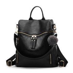 Simple Fashion Backpack Women Leather Backpacks For Teenage Girls School Bags Vintage Solid Black Shoulder Bag mochila Leather Backpack Purse, Leather Backpacks, School Bags For Girls, Black Shoulder Bag, Shoulder Bags, Ali Express, Casual Bags, Leather Design, Fashion Backpack