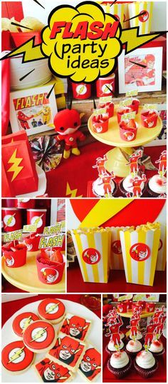 What a fun superhero party featuring The Flash! See more party ideas at CatchMyParty.com!