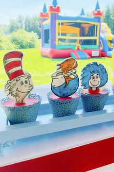 Don't miss this fun Dr. Seuss 1st birthday party! The cupcakes are fantastic! See more party ideas and share yours at CatchMyParty.com