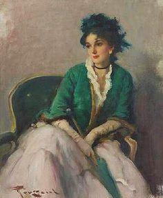 "Fernand Toussaint, ""Elegant woman with a Parasol"""