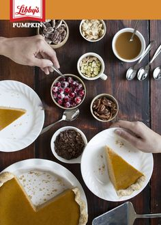 Create a new tradition this Thanksgiving by letting your guests put a signature touch on their pumpkin pie with unique toppings. Our favorites are streusel, crystallized cranberries, almond slivers, caramel, roasted pecans, candied pecans and chocolate shavings.