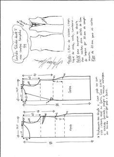 Esquema de modelagem de vestido tubinho com decote nas costas tamanho 44.
