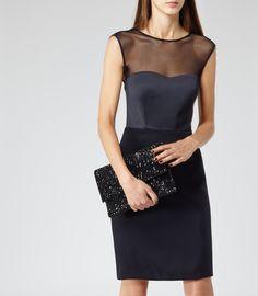 Womens Midnight Semi-sheer Fitted Dress - Reiss Ammy