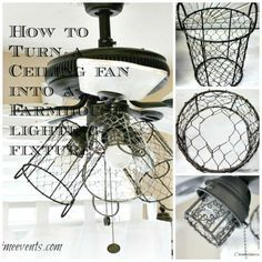 how i gave my ceiling fan a sheik, rustic, farmhouse look, with this diy lighting. white washed fan blades and chicken wire basket sconces over the bulbs. Farmhouse Style Decorating, Ceiling Fan Diy, Farmhouse Ceiling Fan, Diy Ceiling, Diy Lighting, Farmhouse Style Lighting, Ceiling Fan In Kitchen, Farmhouse Dining Room Lighting, Diy Lamp Shade