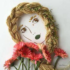 """Amara"" Foliage Face - by Sister Golden / Vicki Rawlins Dame Nature, Pressed Flower Art, Ideias Diy, Arte Floral, Leaf Art, Nature Crafts, Flower Crafts, Altered Art, Diy Art"