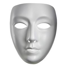 Blank Female Mime Mask - Creepy like a faceless villain. This female mask is formed out of white plastic with a white elastic string to keep it securely snug to your face.Great for masquerades, parades, themed partys and more. #yyc #mime #mask #costume