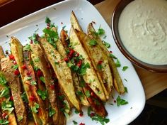 Sweet potato wedges with lemon grass creme fraiche...can't make these soon enough @Angharad Guy