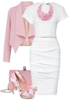 Stylish Work Outfit Ideas for Spring & Summer 2017 of course I also like pink. I like this ensemble. I wouldn't think of wearing a necklace that big, but it does go well with the outfit. I actually like it a lot. Outfits 2016, Mode Outfits, Spring Outfits, Fashion Outfits, Womens Fashion, Dress Outfits, Work Dresses, Dress Fashion, Floral Outfits