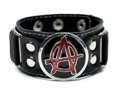 Anarchy Sign Punk Vinyl Wristband by Dysfunctional Doll : Wristbands & Armbands