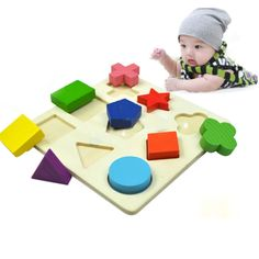 Wooden Geometry Block Puzzle Montessori Early Learning Kid Baby Educational Toy $4.99