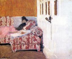 sur l' canapé ( également connu sous le nom Dans le white room ), Huile sur panneau de Edouard Vuillard (1868-1940, France)