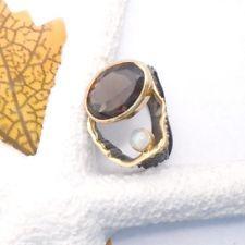 Rauchquarz Opal braun gold schwarz Design Ring Ø mm 925 Sterling Silber neu Black Rhodium, Ring Designs, Opal, Gemstone Rings, Gemstones, Gold, Jewelry, Jewellery Making, Jewerly