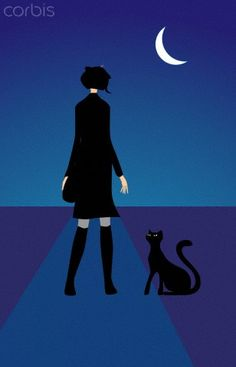 The back of a woman standing next to a black cat at night - 42-26225123 - Royalty-Free - Stock Photo - Corbis