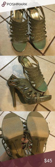 Glittery evening sandal heels. NEVER WORN!! Gold glittery sandal heels. NEVER WORN!! Chinese Laundry Shoes Heels