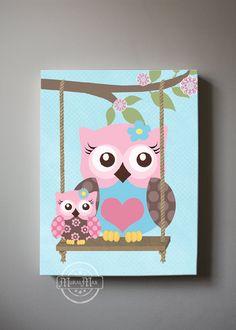 Owl Decor Girls wall art - OWL canvas art, Baby Nursery Owl with Swing whimsical nursery art, Match with Brooklyn Nursery Bedding Owl Canvas, Nursery Canvas, Nursery Art, Canvas Wall Art, Whimsical Nursery, Nursery Bedding, Nursery Ideas, Canvas Prints, Baby Owl Nursery