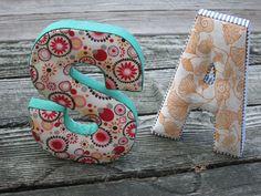 Fabric, cardboard letters diy