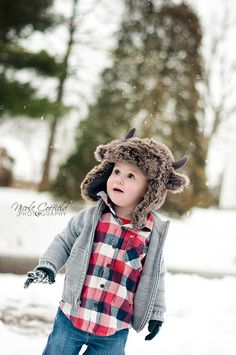 toddler boy winter photoshoot, snow session. -- I would go find snow so A could wear this hat!