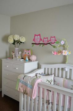 Owl decals - so sweet owl nursery owl wall decals, wall deca Owl Nursery Decor, Girl Nursery, Girls Bedroom, Nursery Ideas, Bedroom Ideas, Blue Crib, Pink Crib, Owl Wall Decals, Wall Murals