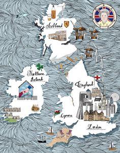 Lindsey Spinks #illustration #map #greatbritain #uk #ireland #thequeen #travel #island #london