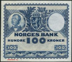 (†) Norges Bank, Norway, specimen 100 kroner, ND (1949), no serial numbers, blue and pale orange, Henrik Wergeland at left, arms top centre, birds in low margin, reverse blue, logging scene, value at left Mercury and ships Pale Orange, Mercury, Norway, Vikings, Centre, The 100, Numbers, Ships, Birds