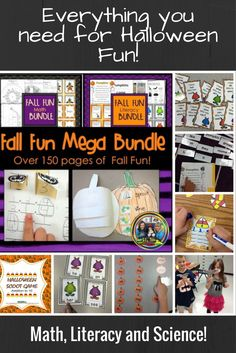 Only $5 for a limited time! This Mega Bundle has it all! There are books, games, word family sorts, pumpkin cycle interactive sheet, 100 cute monster sight word cards and games, number cards, songs, cut and paste sheets and so much more! #Halloween#centers#math#literacy#pumpkins#factfamilies#skipcounting#Halloweenbooks#coloringbook