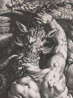 "achasma: ""The Dragon Devouring the Companions of Cadmus (detail) by Hendrick Goltzius, "" Arte Horror, Horror Art, Art Sombre, Posca Art, Satanic Art, Arte Obscura, Macabre Art, Occult Art, Biblical Art"