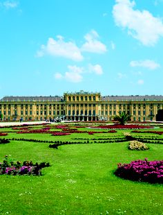 Schonbrunn Palace, Vienna, Austria: summer residence to the Habsburgs. The original mansion was built in 1548, with a palace being added from 1638 to 1643. Now a tourist destination.