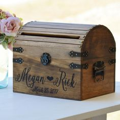 Personalized Wedding Card Box Rustic Card Box With Slot Wood Card Box With Lock Option Wedding Keepsake Chest Custom With Heart Wedding Cards Keepsake, Wedding Gift Card Box, Rustic Card Box Wedding, Wedding Keepsakes, Wedding Boxes, Chic Wedding, Trendy Wedding, Wedding Mailbox, Wedding Ideas