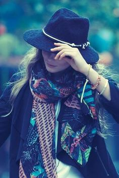 { Knotted Fedora and Oversized Scarf }