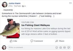 Screenshot: (6) Jukka Niemi Lake Erie, Ice Fishing, Just Kidding, Winter Time, Palm, Hand Prints
